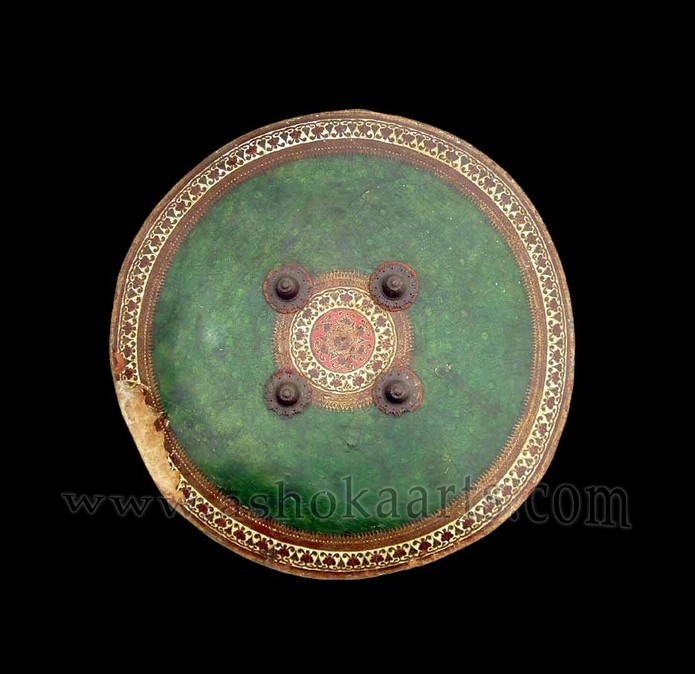 Large North Indian Hide Shield Dhal with Lacquered Decoration