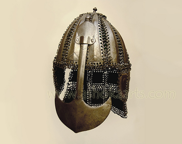Early Deccan Mail and Plate Helmet with collection tag
