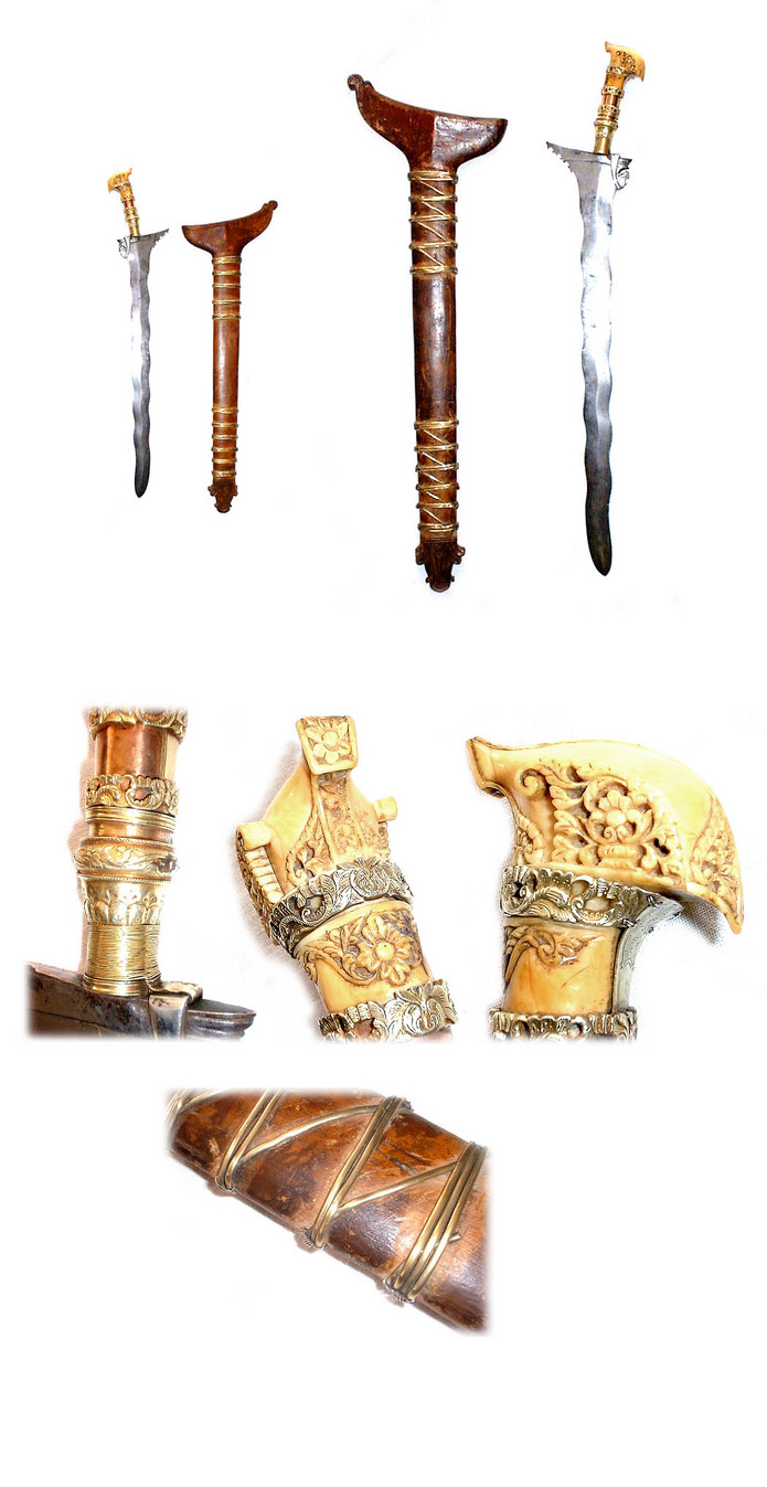Early high quality Datu Moro Keris sword with gold mounts and carved ivory hilt
