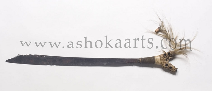 Dyak mandau sword from Borneo with beaded carved scabbard