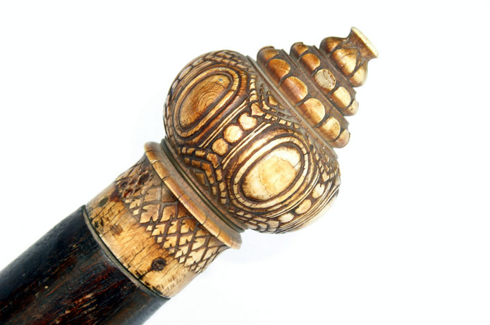 Rare Temple Dha sword from Thailand with huge carved Ivory Pommel 'Elephant Sword' 19th century