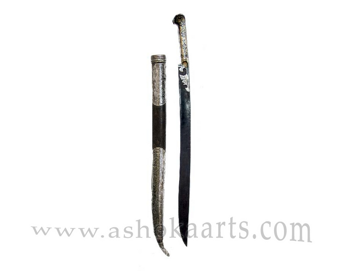 Antique Greek Yataghan Silver-gilt and Niello Sword
