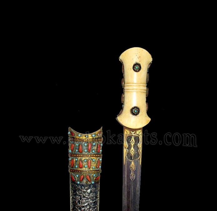 Ottoman or Balkan Turkish court dagger with silver, coral and turquoise inlay Circa 1800