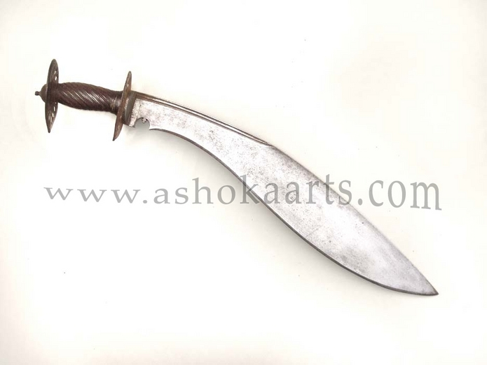 Large All steel Nepalese kukri sword or chopper with pierced steel guards 18th century