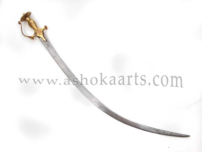 Fine Indian Tulwar sword shamshir with chiselled wootz blade