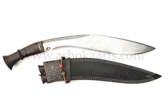 Early Nepalese Kukri knife with quill decorated sheath circa 1800