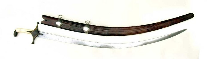 ANTIQUE PERSIAN SHAMSHIR SWORD WITH WOOTZ BLADE AND SIGNED CARTOUCHE