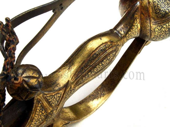 Indian Basket hilted Gilt sword with heavy Wootz damascus steel blade circa 1820