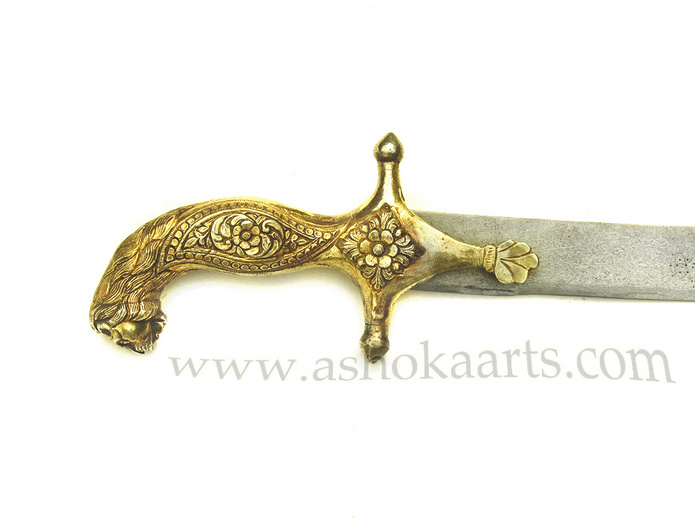 Antique Indian Lion-headed Shamshir Sword with solid Silver-Gilt hilt