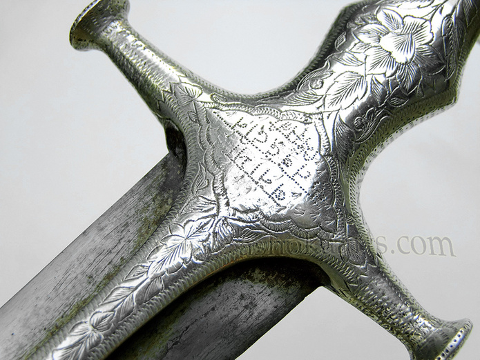 Indian Tulwar sword with Silver hilt, Wootz steel blade and Devanagri inscriptions