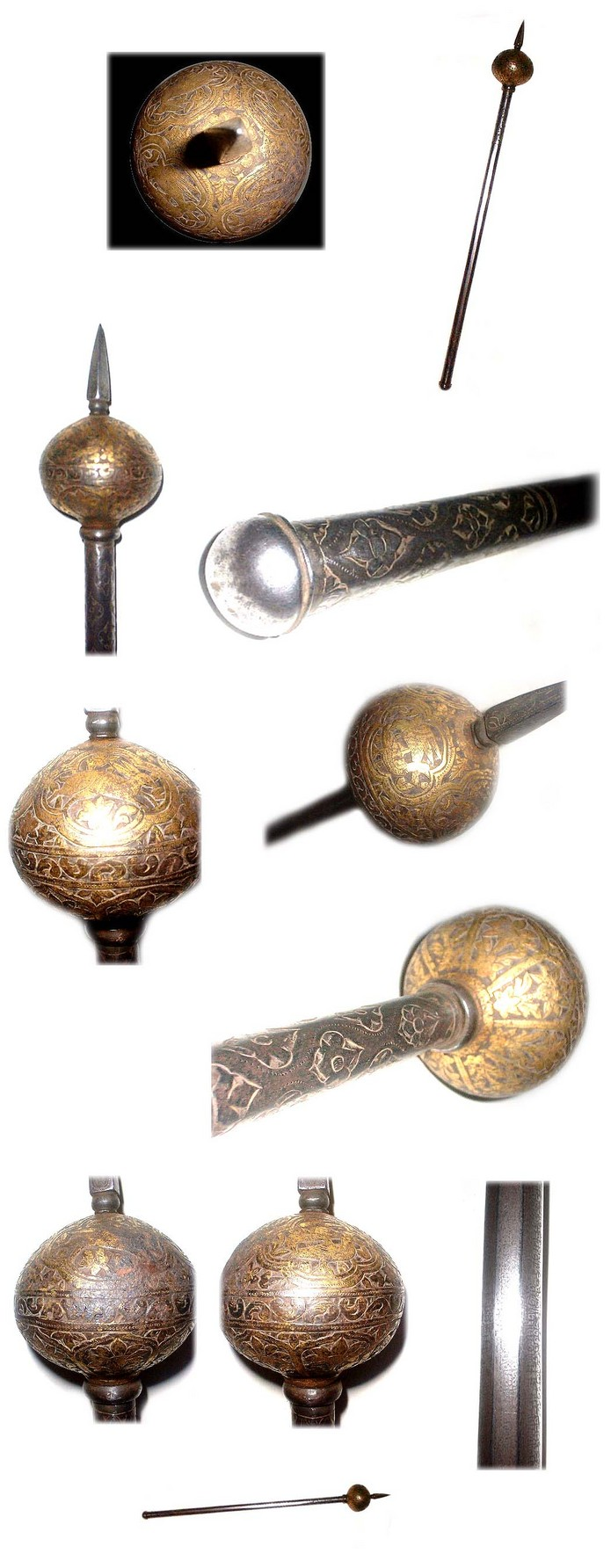 Antique Gilt Steel Persian Mace with chiselled decoration 19th century
