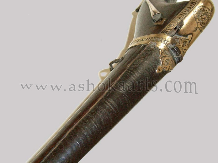 Large Antique Matchlock musket from Sind with gilt mounts and damascus twist barrel