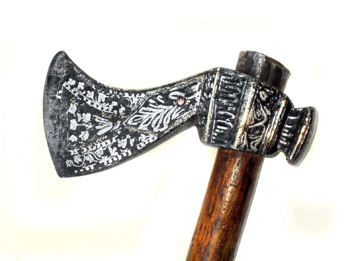 unusual south indian war axe with inlay