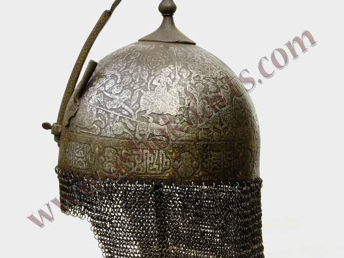 persian khula khud helmet with bazuband armguard gold inlaid with kufic script