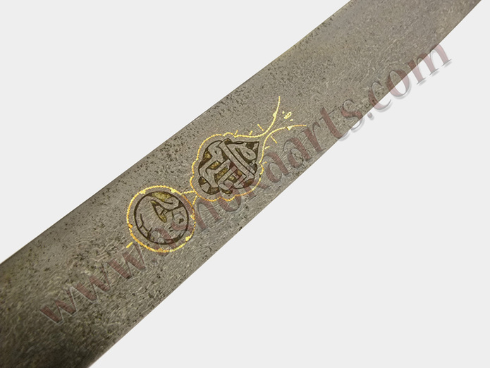 Persian wootz bladed shamshir sword with cartouche