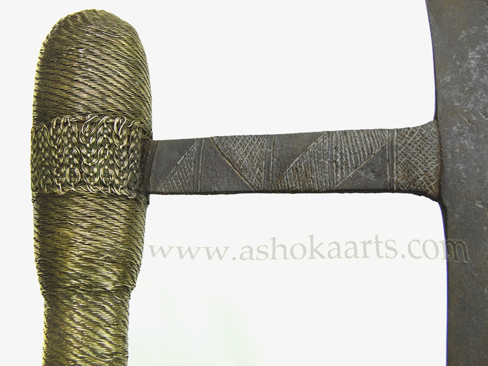 Fabulous shona axe with brass wirework chiselled decoration to the blade