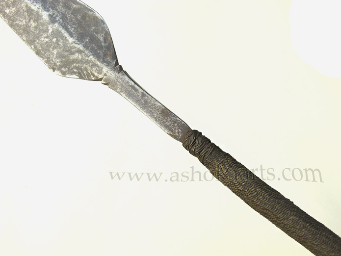 Magnificent early Nguni Xhosa Assegai Spear fully bound with wirework