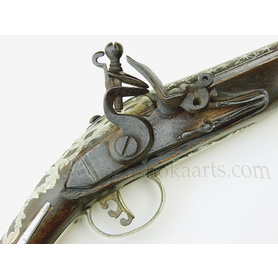 antique Turkish Pistol with inlaid silver barrel