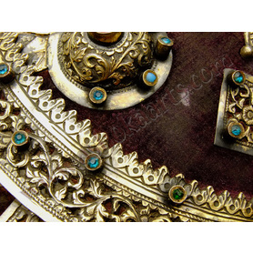 Magnificent Ethiopian Abyssinian Gold and purple velvet Gasha shield with gemstones