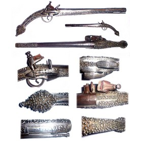 Fine antique Turkish Silver flintlock pistol