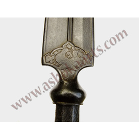 Heavy Persian steel lancehead with chiselled designs